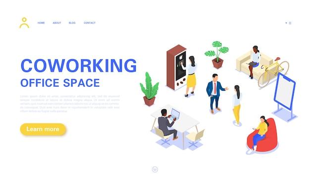Page de destination de l'espace de coworking et de bureau
