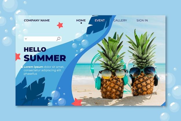 Page de destination d'été d'ananas portant des lunettes de soleil