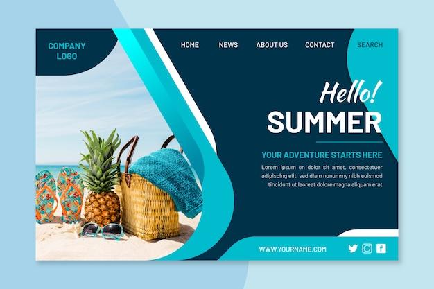 Page de destination d'été avec photo