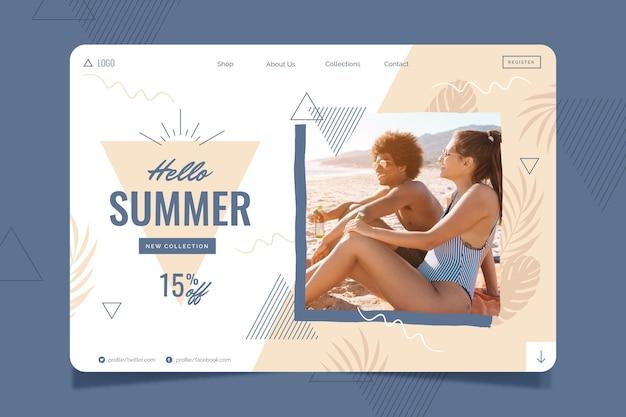 Page de destination d'été plat organique avec photo