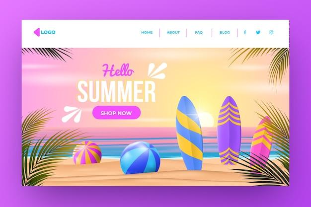 Page de destination d'été réaliste