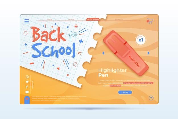 Page de destination de l'événement de retour à l'école