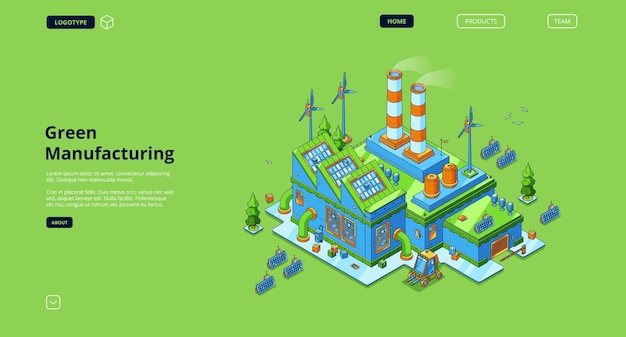 Page de destination de la fabrication verte