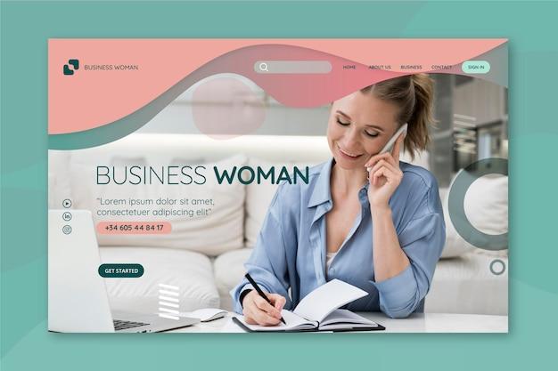 Page de destination de femme d & # 39; affaires