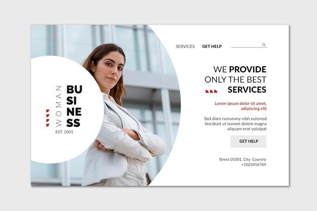Page de destination de la femme d'affaires