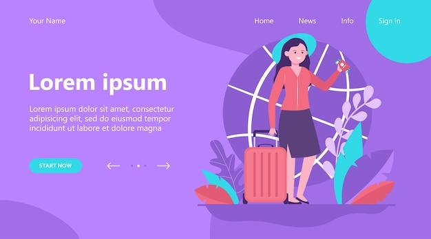Page de destination, femme heureuse voyageant dans un autre pays. billet, sac, illustration vectorielle plane de voyage. concept de voyage et de vacances