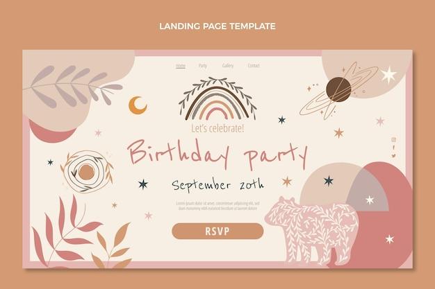 Page de destination de fête d'anniversaire boho dessinée à la main