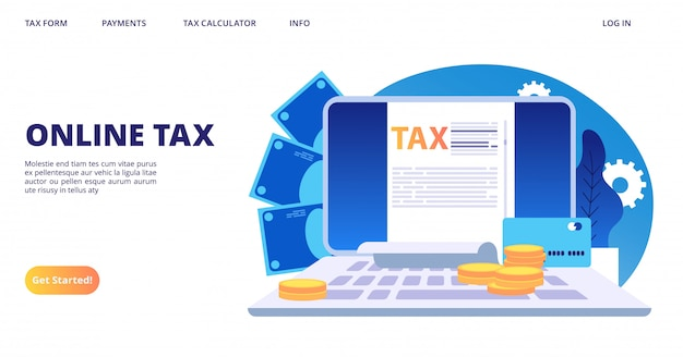 Page de destination fiscale en ligne. modèle de bannière web de formulaire d'impôt numérique vectoriel