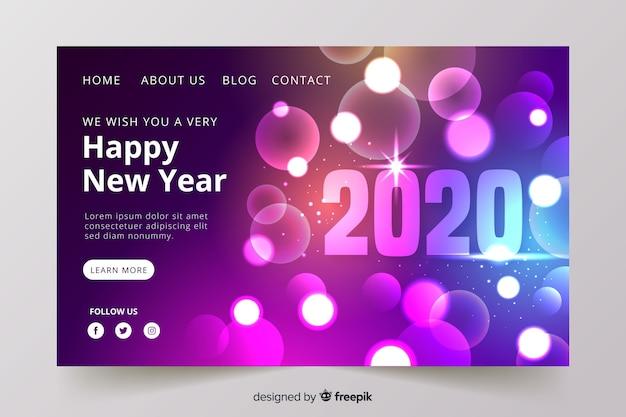Page de destination floue du nouvel an pour 2020