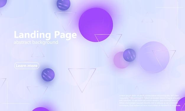 Page de destination. fluide violet. fond géométrique.