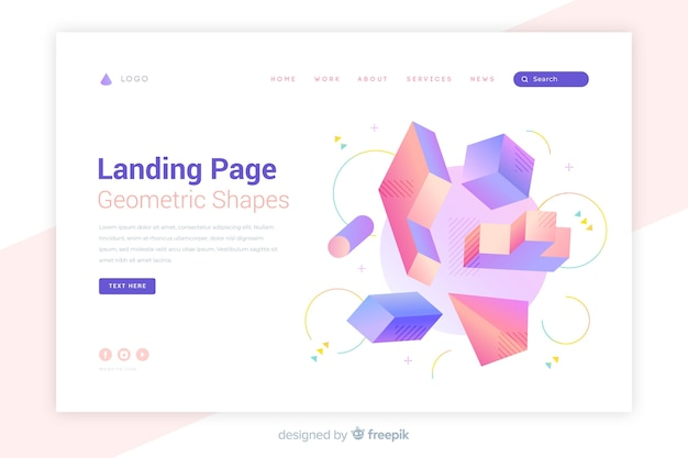 Page de destination des formes géométriques colorées lumineuses