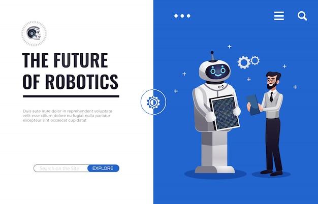 Page de destination future de la robotique