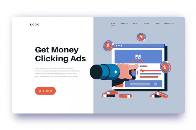 Page de destination gagnez de l'argent en cliquant sur les annonces