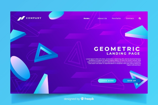 Page de destination géométrique 3d avec dégradé violet