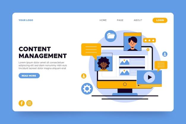 Page de destination de la gestion de contenu