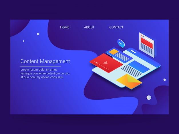 Page de destination de gestion de contenu