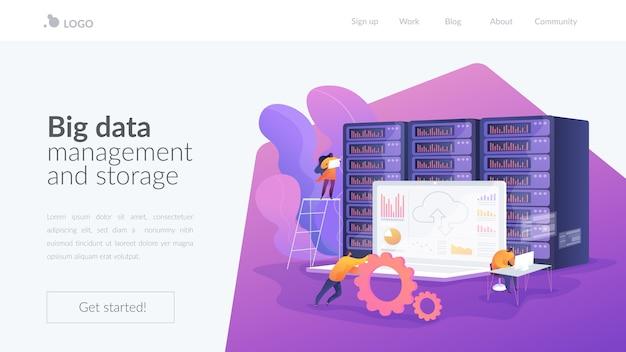 Page de destination de la gestion des données d'enchères et du stockage