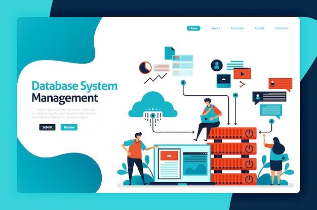 Page de destination de la gestion du système de base de données