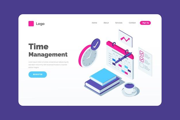 Page de destination de la gestion du temps isométrique