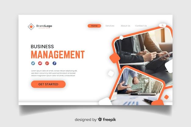 Page de destination de gestion d'entreprise