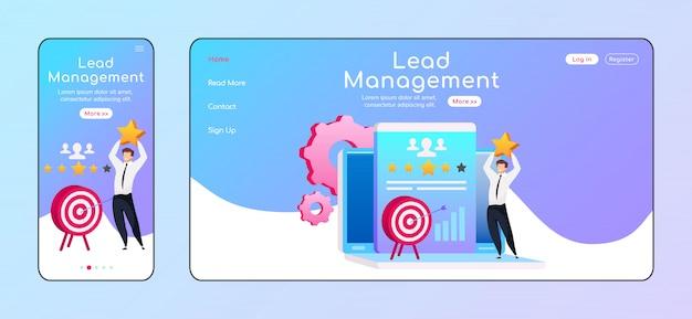 Page de destination de la gestion des prospects