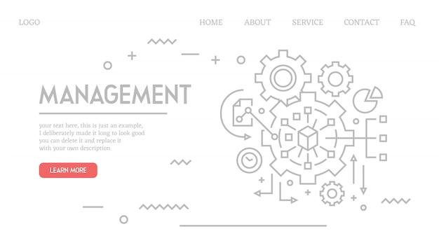 Page de destination de gestion en style doodle
