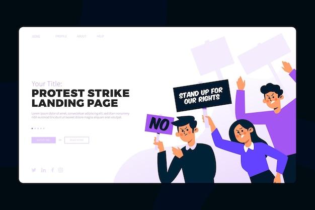 Page de destination de la grève de protestation