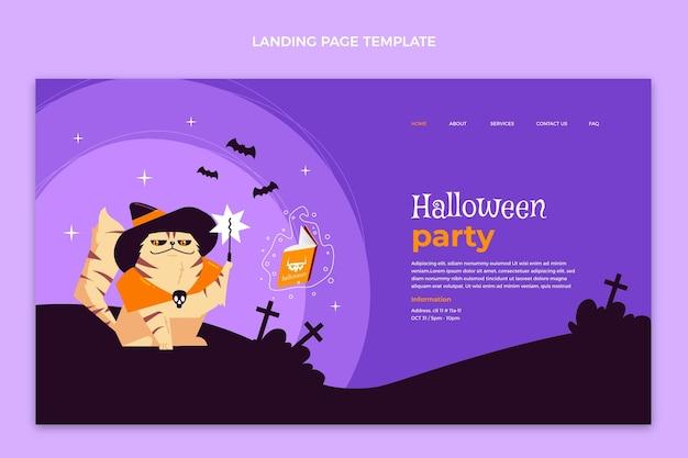 Page de destination halloween design plat dessiné à la main