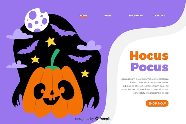 Page de destination halloween design plat