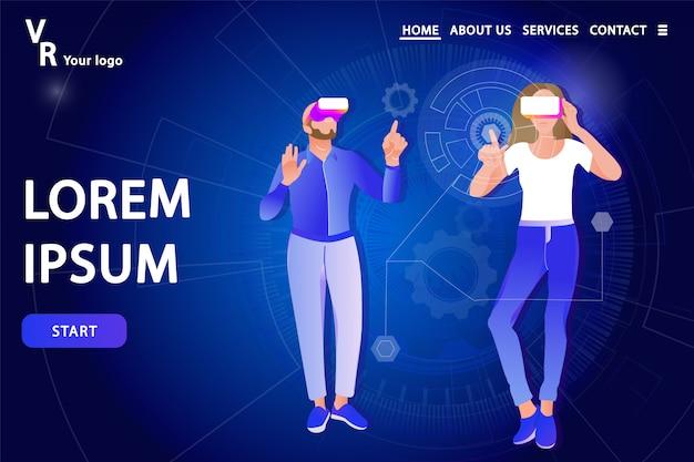 Page de destination. homme et femme à lunettes de réalité virtuelle