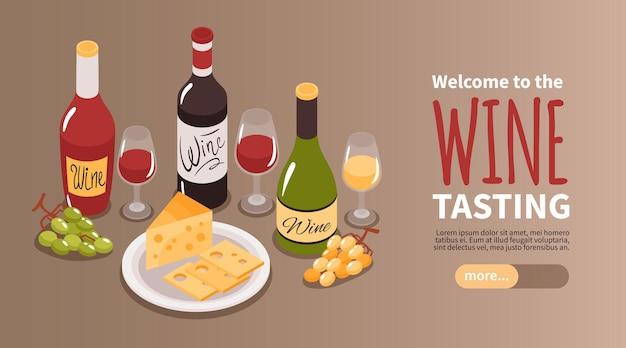 Page de destination horizontale isométrique des visites de vignobles de dégustation de vin