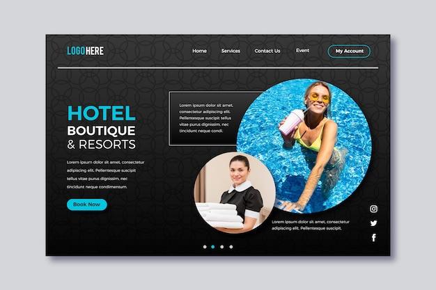 Page de destination de l'hôtel avec photo
