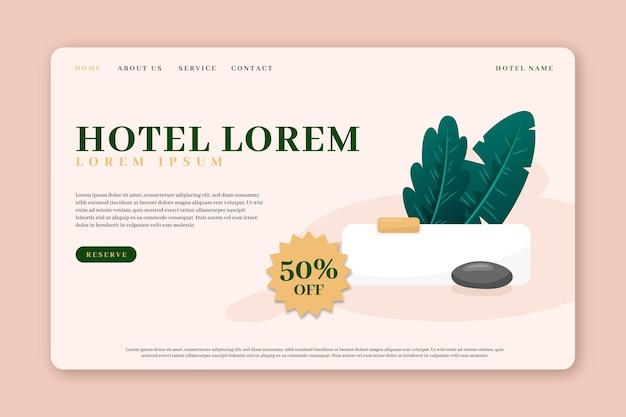 Page de destination de l'hôtel plat organique illustrée