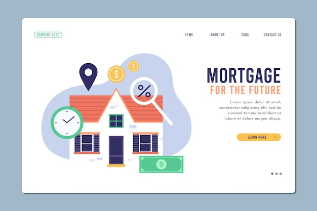 Page de destination hypothécaire modèle design plat