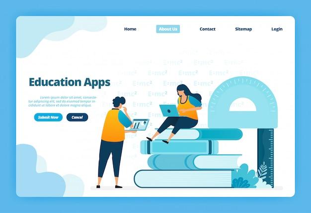 Page de destination illustration des applications éducatives. l'apprentissage à distance moderne avec des cours virtuels sur internet