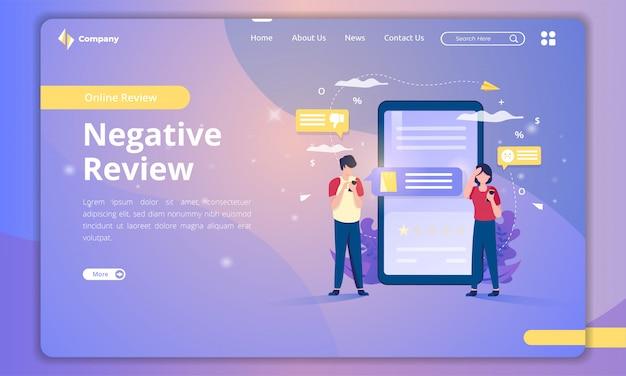 Page de destination avec illustration d'un avis négatif pour le concept de rétroaction des clients