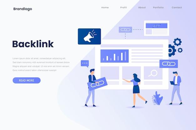 Page de destination d'illustration de backlink. page de destination