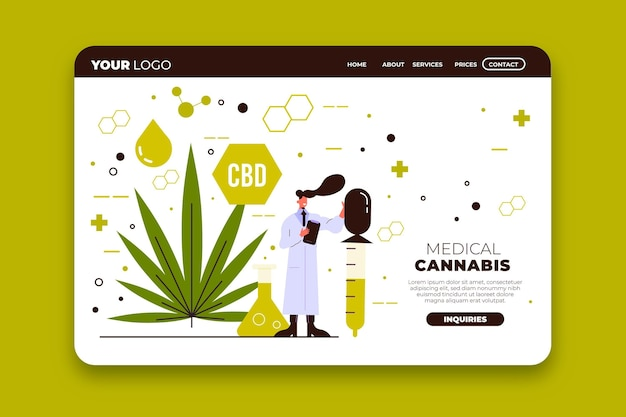 Page de destination d'illustration de cannabis médical