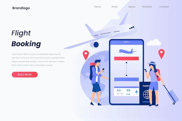 Page de destination illustration concept de réserver votre vol