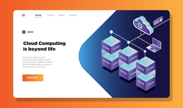 Page de destination de l'illustration du cloud computing