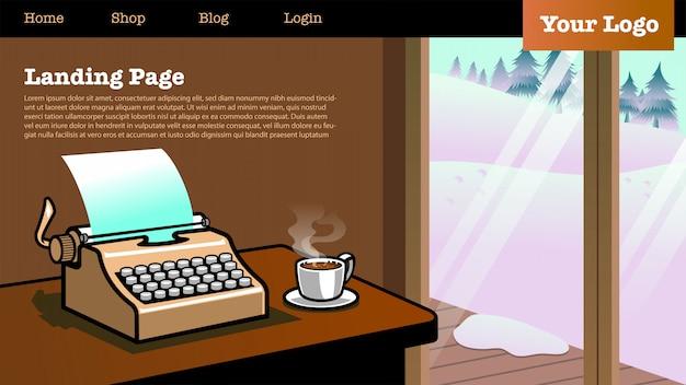 Page de destination avec illustration du type machine à écrire dans la maison