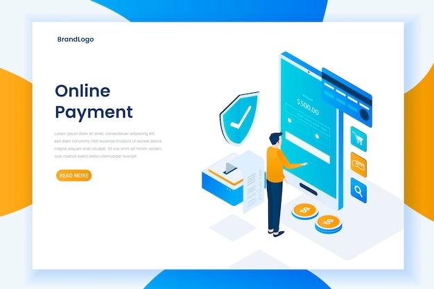 Page de destination d'illustration de paiement en ligne design plat