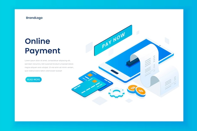 Page de destination d'illustration de paiement en ligne isométrique