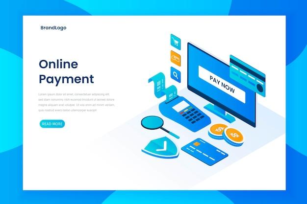 Page de destination d'illustration de paiement en ligne
