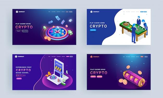 Page de destination avec illustration des personnages de jeu, roue de roulette, machine à sous et pièces de chiffrement pour play casino using crypto.