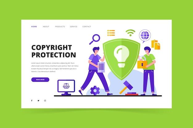 Page de destination illustrée du droit d'auteur