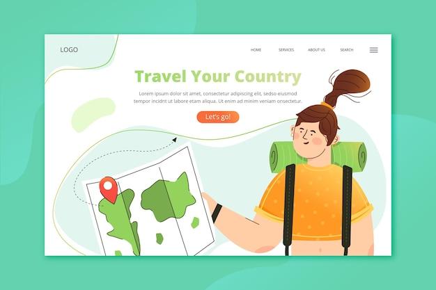 Page de destination illustrée du tourisme local