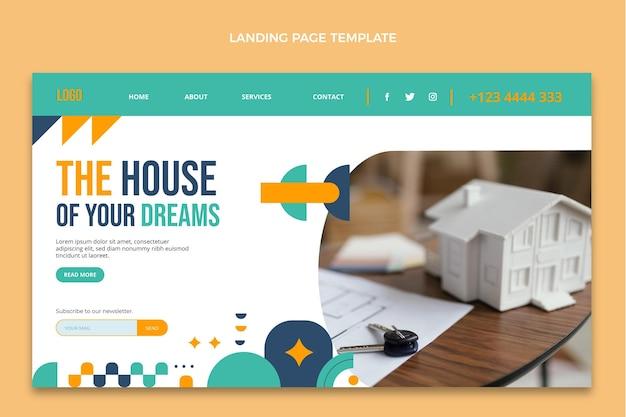 Page de destination de l'immobilier abstrait design plat