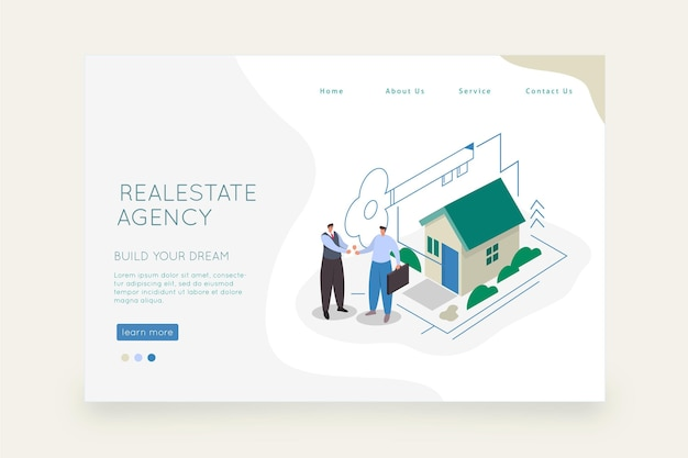 Page de destination de l'immobilier de conception isométrique