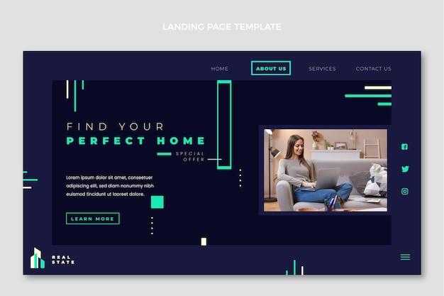 Page de destination de l'immobilier géométrique abstrait plat